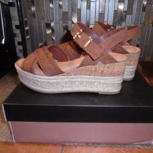 Fergie Brown Platform Wedge Sandals